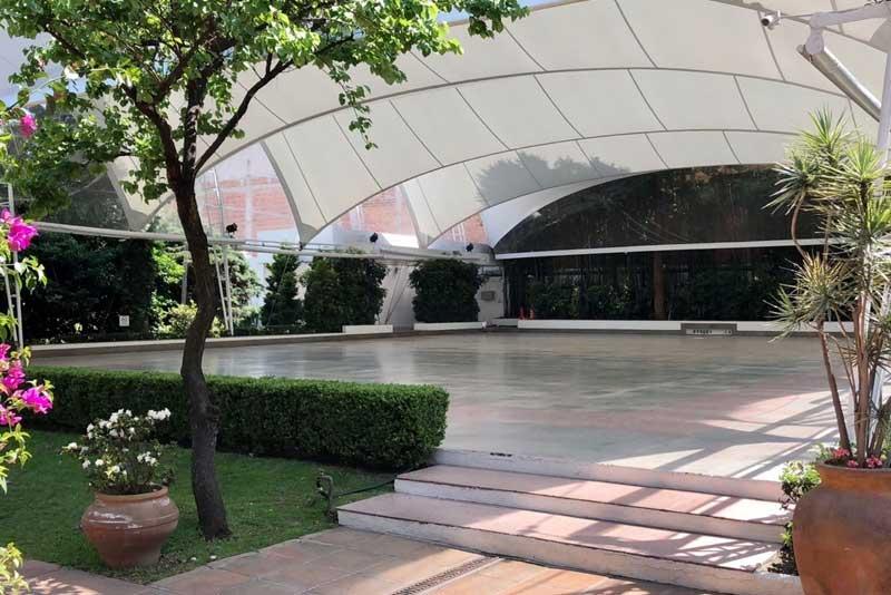 Jardines y salones para eventos Escoffier vista general desde el frente de Hacienda San Fernando