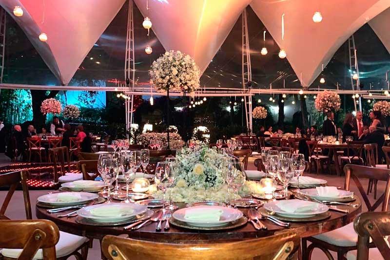Banquetes para bodas Escoffier, montaje realizado en Hacienda San Fernando Tlalpan CDMX
